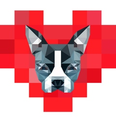 8-Bit Pixelated Heart with Low-Poly Boston Terrier vector image