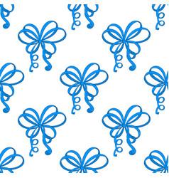 blue ribbon bows as seamless pattern vector image vector image