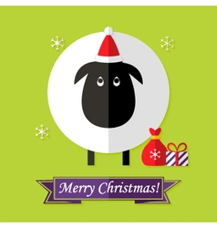 Christmas Card with Sheep over Green vector image vector image