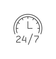 24 hours service line outline icon vector