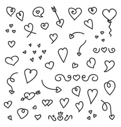 A big collection of hand drawn hearts and arrows vector