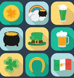 A set of flat icons on St Patricks Day Shadow vector image