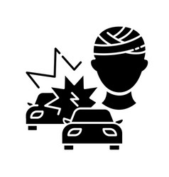 acquired brain injury black glyph icon vector image