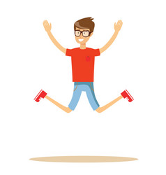 active guy jumping in joy isolated on white vector image