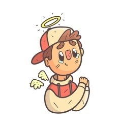 Angel boy in cap and college jacket hand drawn vector