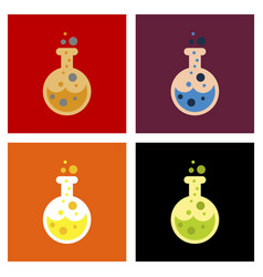 Assembly flat icons halloween potion bottle vector