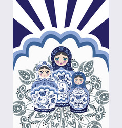 Background with matryoshka dolls vector