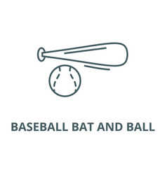 baseball bat and ball line icon baseball vector image