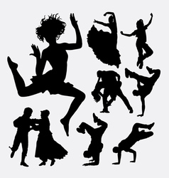 beautiful dance male and female action silhouette vector image
