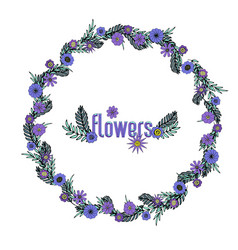 beautiful hand-drawn purple floral wreath vector image