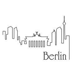 berlin city one line drawing background vector image