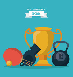 blue background of healthy lifestyle sports with vector image