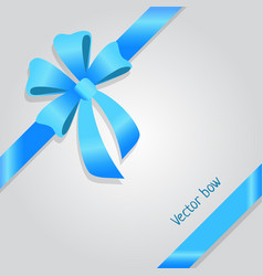 Bow shiny wide blue ribbons four petals vector