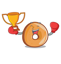 boxing winner bagels mascot cartoon style vector image