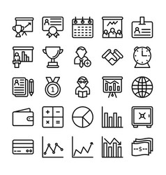 business and office line icons 16 vector image
