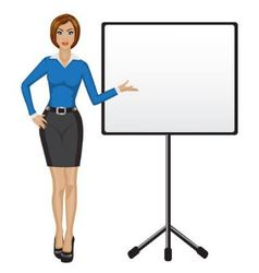 Business woman holds presentation vector