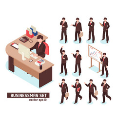 businessmen isometric set vector image