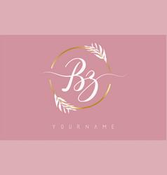 Bz b z letters logo design with golden circle vector