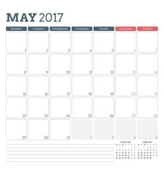 Calendar Planner Template for May 2017 Week vector