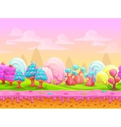 Cartoon fantasy candy land location vector