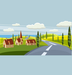 Cartoon landscape with road higway countryside vector