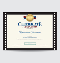 Certificate of completion template with movie vector