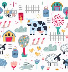 childish seamless farm pattern trendy kids vector image