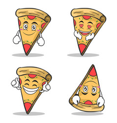 collection set pizza character cartoon vector image