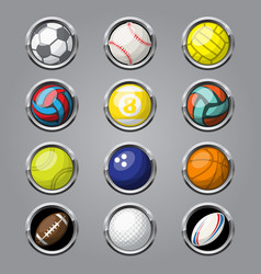 Color sport balls buttons background vector