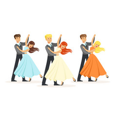 Couples of professional ballroom dancers vector