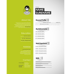 Creative CV template with paper stripes vector image