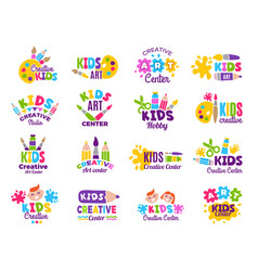 Creative kids logo craft and painting creativity vector