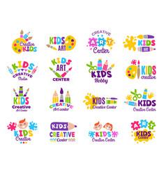 creative kids logo craft and painting creativity vector image
