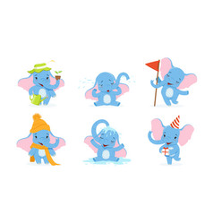 Cute elephant cartoon character collection vector