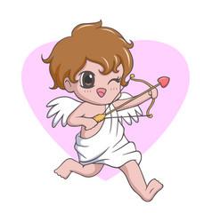 Cute kawaii little boy cupid angel vector