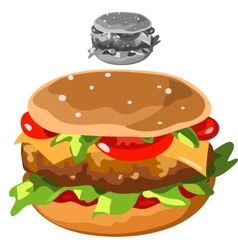 Delicious hamburger in cartoon style isolated vector image