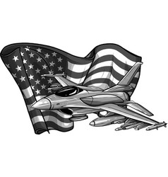 Design military fighter jets with american flag vector