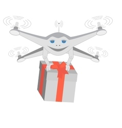 Drone delivers gifts Insulated vector