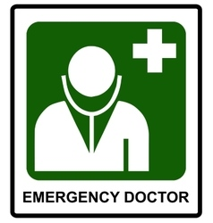Emergency doctor symbol in sticker label for vector image