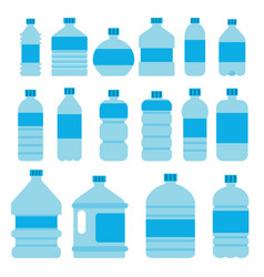 empty plastic bottles in flat vector image