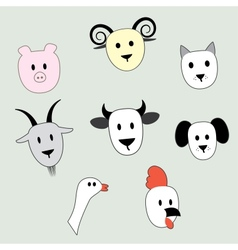 faces animals vector image