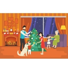 Family with children celebrating christmas holiday vector