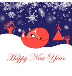 festive new year greeting card with fox vector image