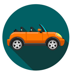 Flat icon convertible compact car with long shadow vector