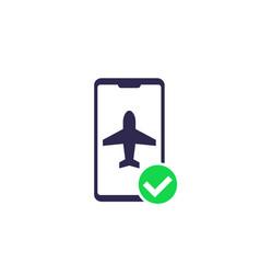 Flight mode in smartphone icon vector