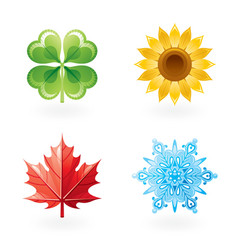 Four seasons nature flat icon set Green shamrock vector image