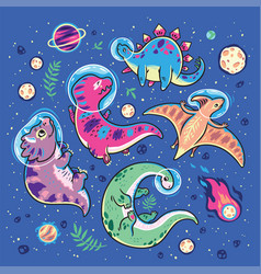 funny cartoon dinosaur astronauts collection vector image