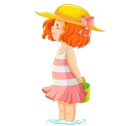 girl in sea vector image