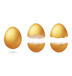 Golden broken eggs cracked open easter eggshell vector