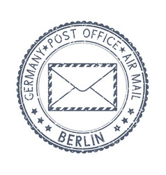 Gray postal stamp berlin germany postmark vector